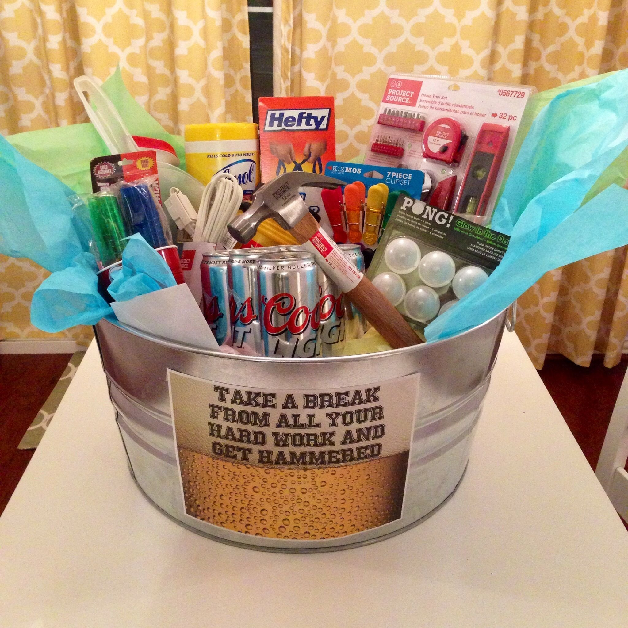10 Lovable Housewarming Gift Ideas For Men the housewarming basket i made my boyfriend pinteres 2020
