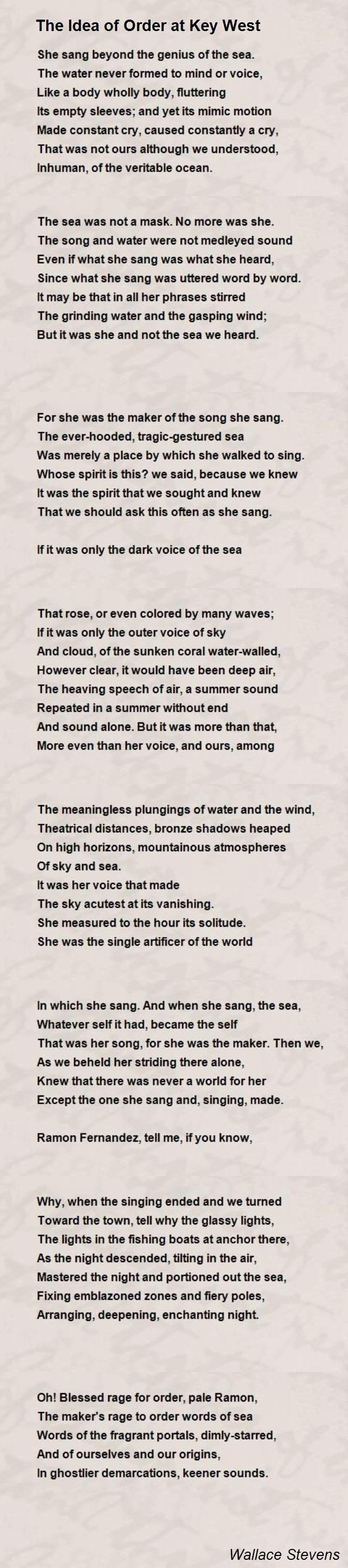 the idea of order at key west poemwallace stevens - poem hunter