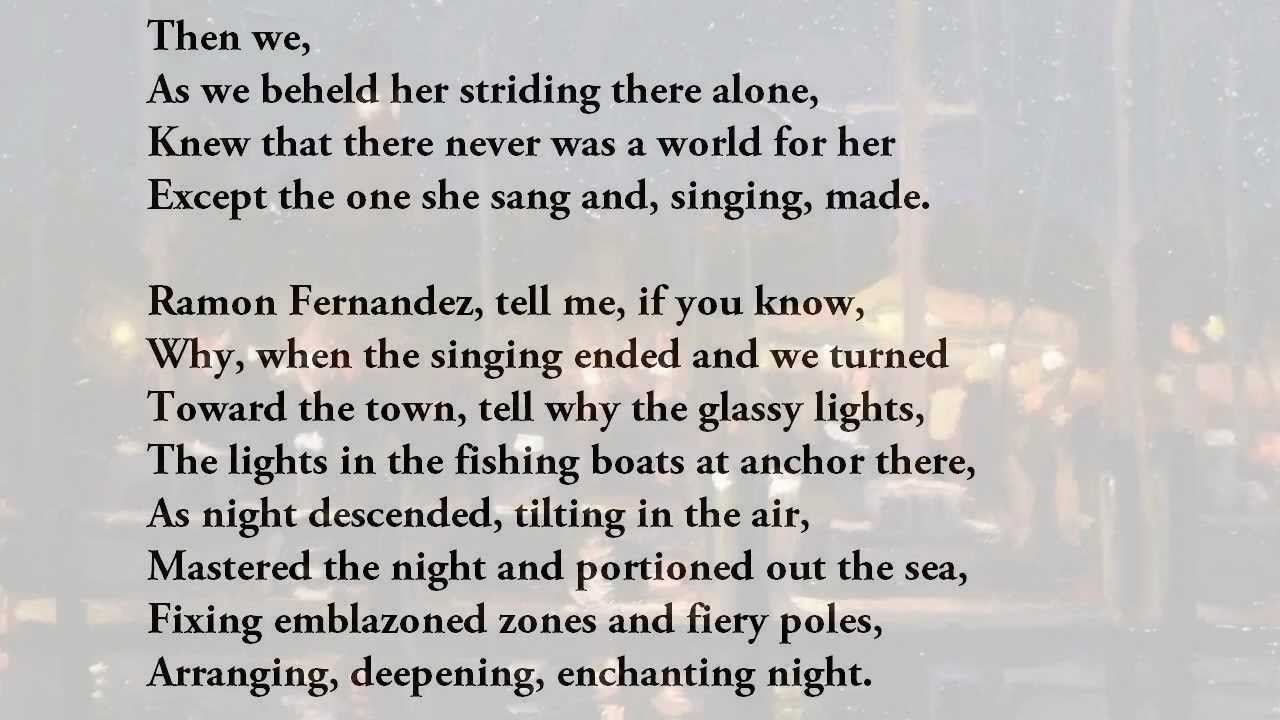 """the idea of order at key west""""wallace stevens (readtom o"""