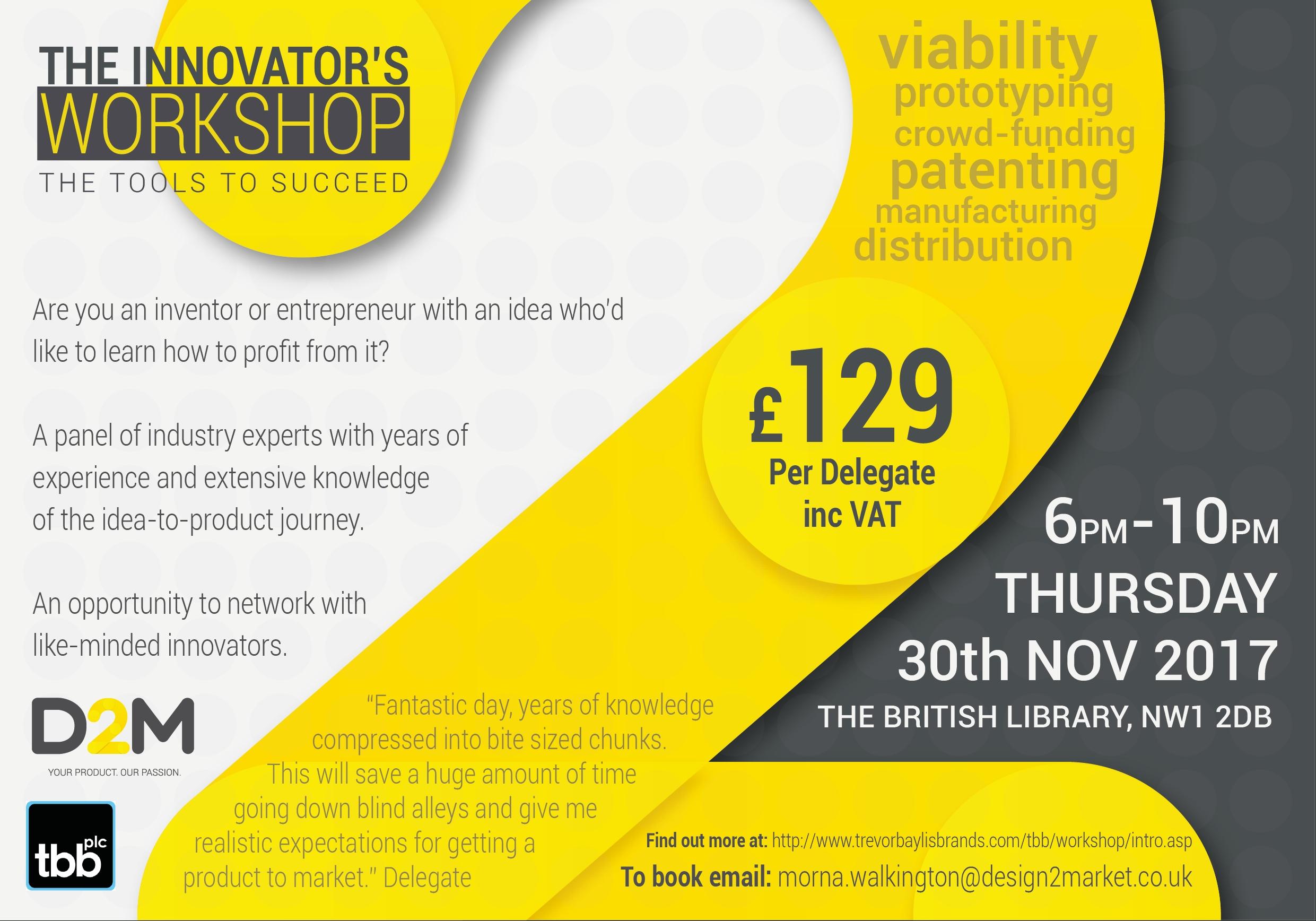 10 Perfect How To Market An Idea the innovators workshop november 30th 2017 d2m idea 2020