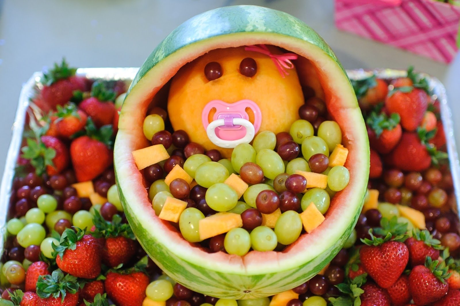 the mandatory mooch: baby shower fruit bassinet