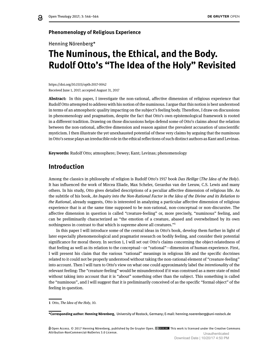 the numinous, the ethical, and the body. (pdf download available)
