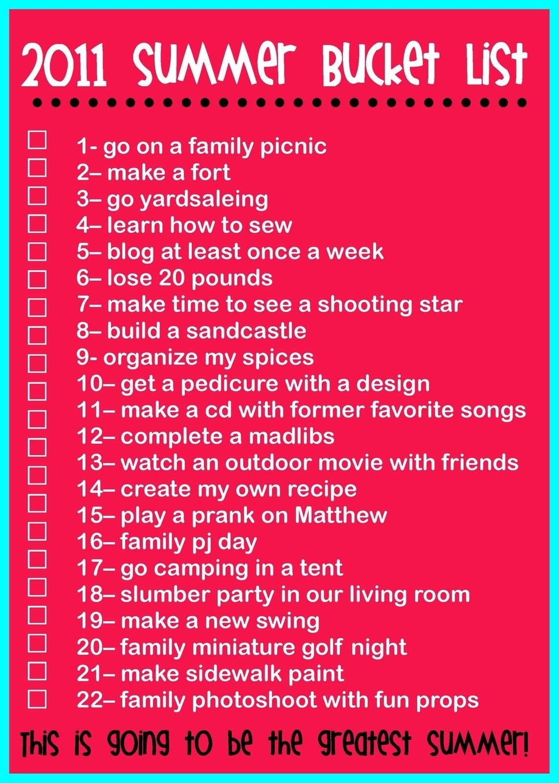 the rollins family: 2011 summer bucket list | summer lists