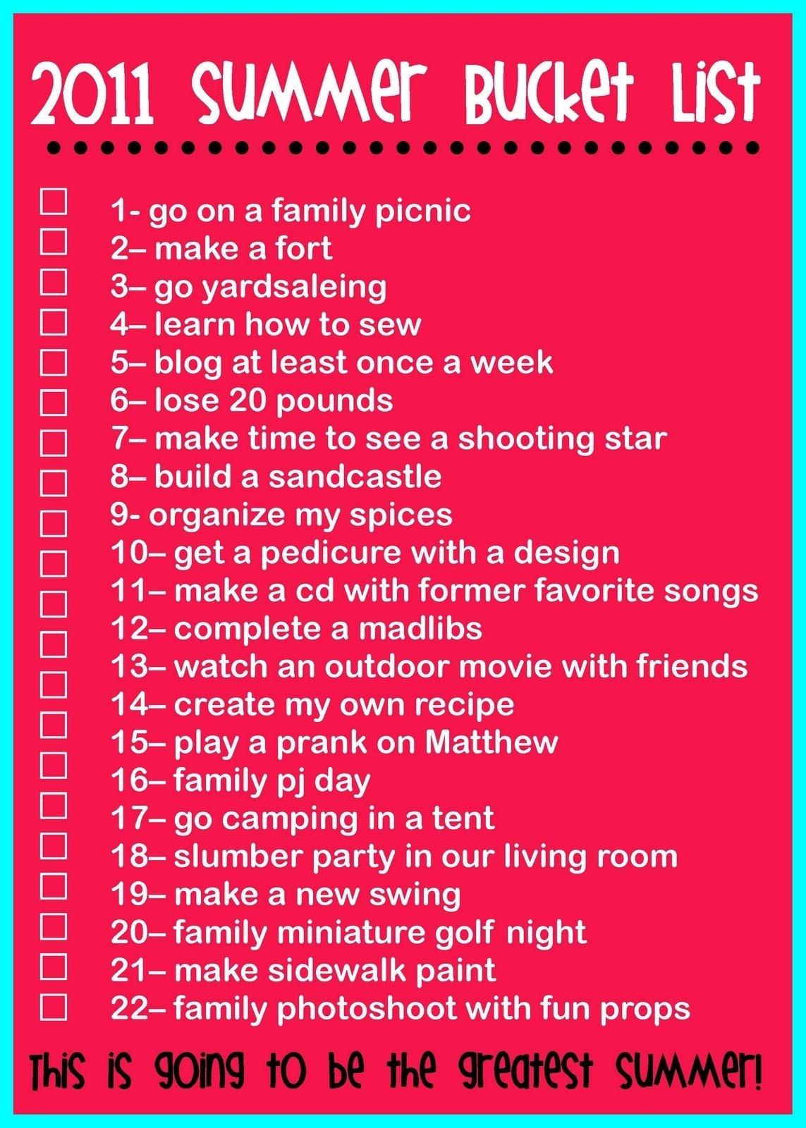 10 Attractive Fun Summer Bucket List Ideas the rollins family 2011 summer bucket list summer lists 3 2020