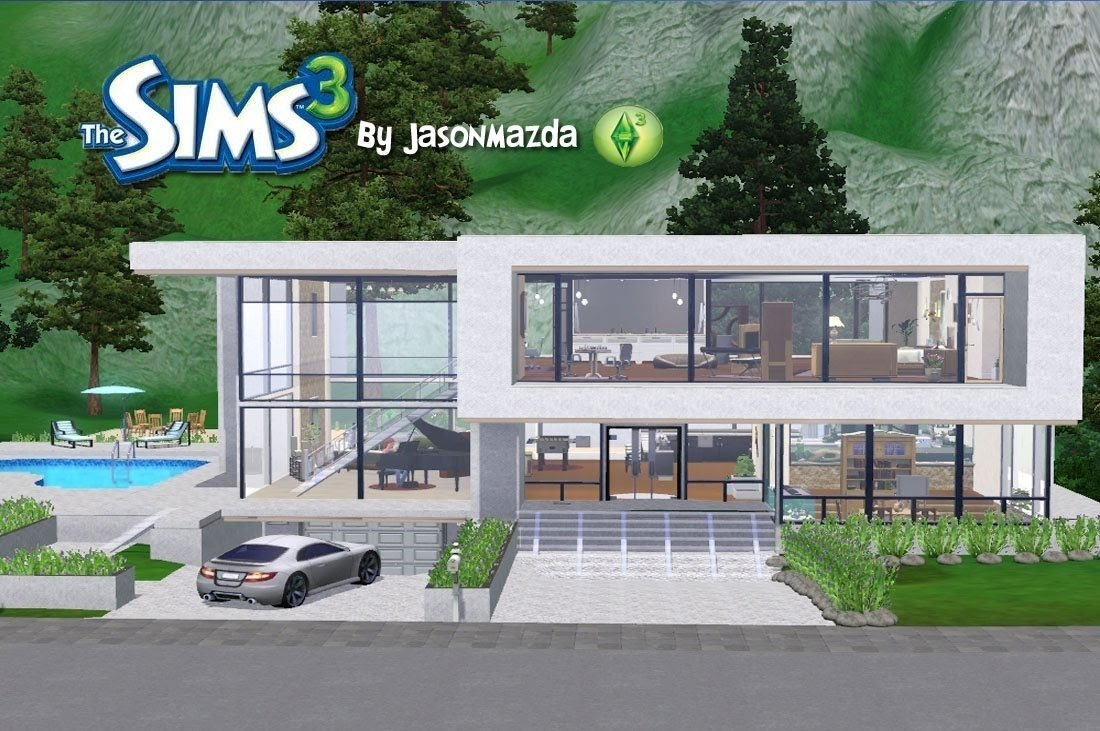 the sims 3 house designs - modern unity - youtube
