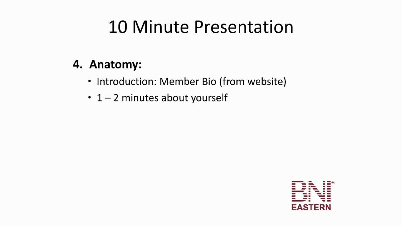 10 Fantastic Bni 10 Minute Presentation Ideas the ten minute presentation bni eastern education youtube 2020
