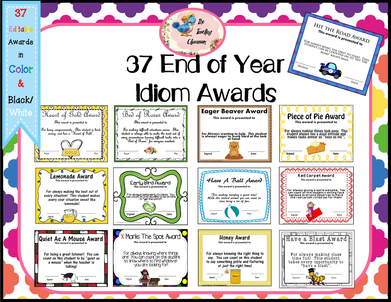 the traveling classroom: end of the year idiom awards   classroom