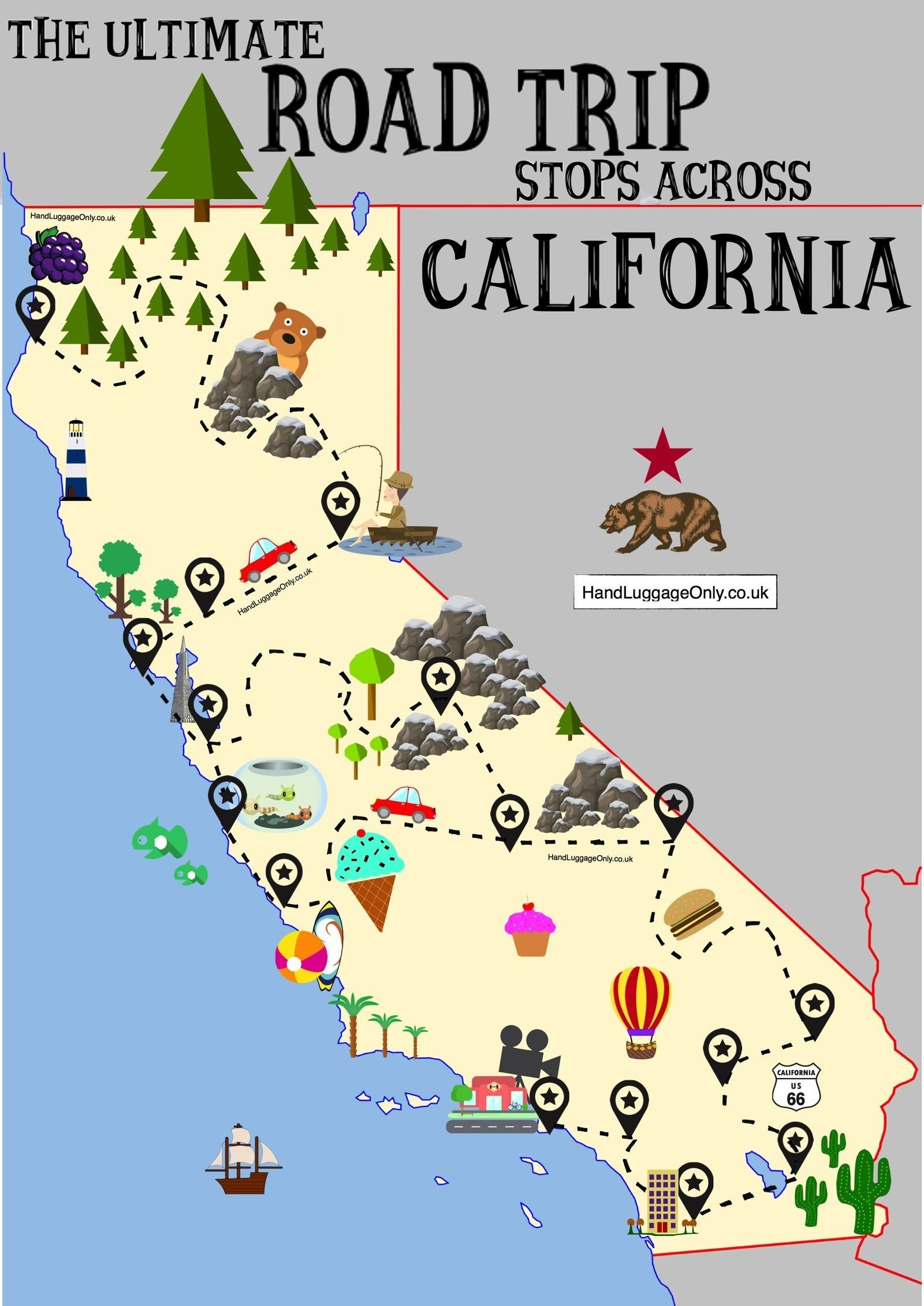 the ultimate road trip map of places to see in california | road