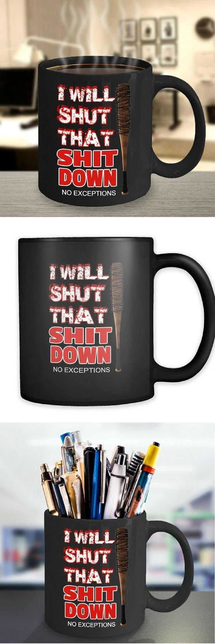 "the walking dead ""i will shut that s@*# down"" coffee mug 