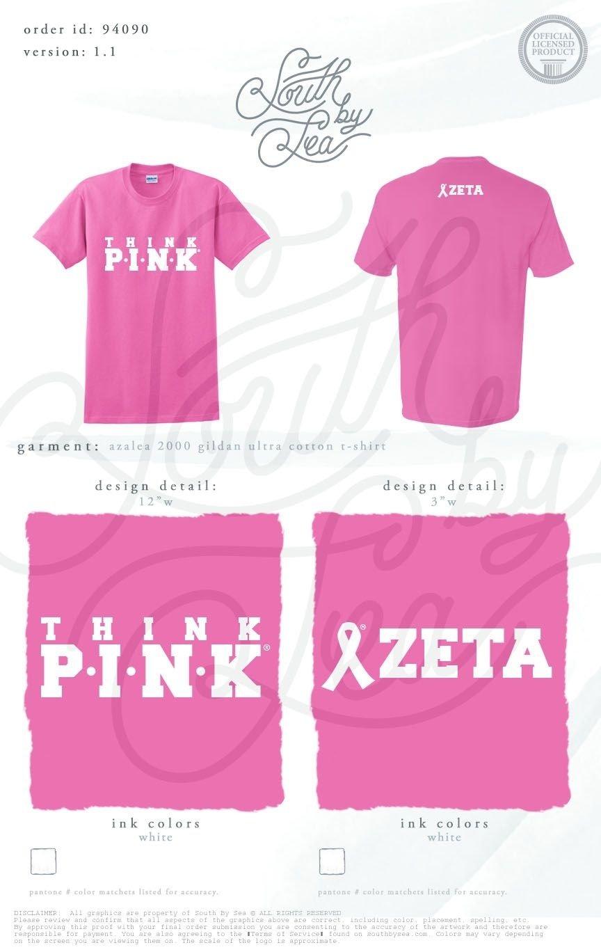 10 Fabulous Breast Cancer T Shirt Design Ideas think pink zeta zta zeta tau alpha breast cancer awareness 1 2021