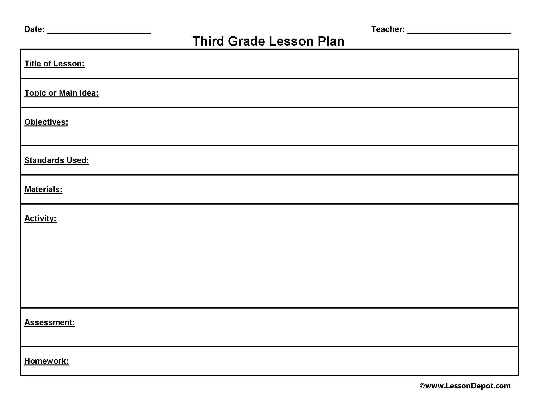 10 Fantastic Lesson Plan Ideas For Elementary third grade lesson plan template to homeschool or not to