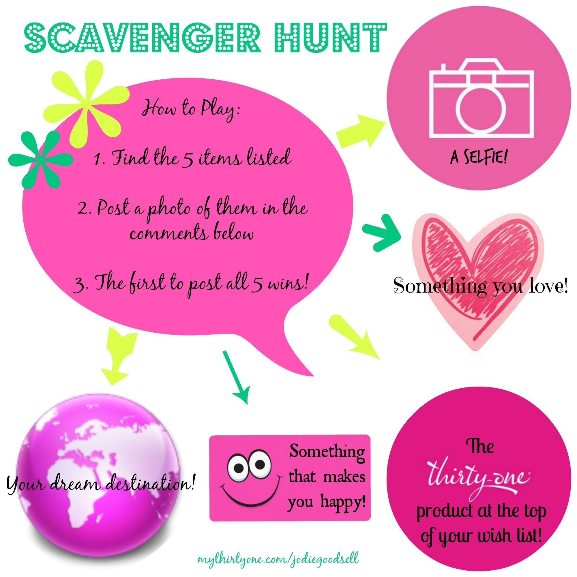 10 Fabulous Thirty One Party Game Ideas thirty one party facebook scavenger hunt paparazzi accessories