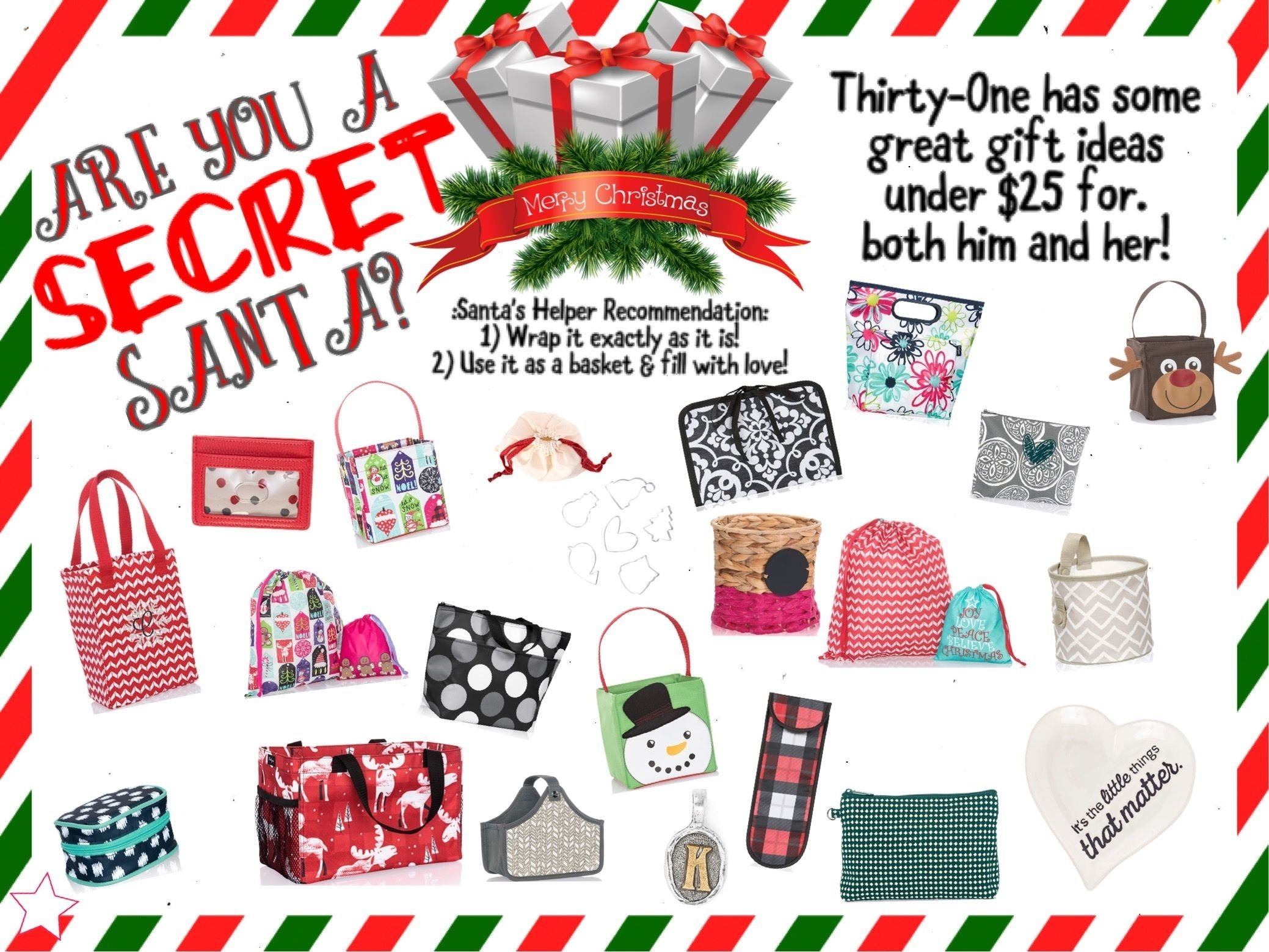 10 Unique Great Secret Santa Gift Ideas thirty one secret santa gifts under 25 graphic for facebook party