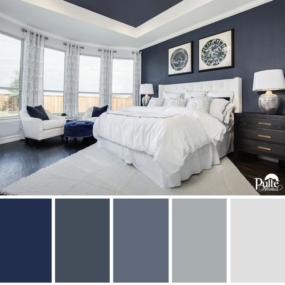 this bedroom design has the right idea. the rich blue color palette