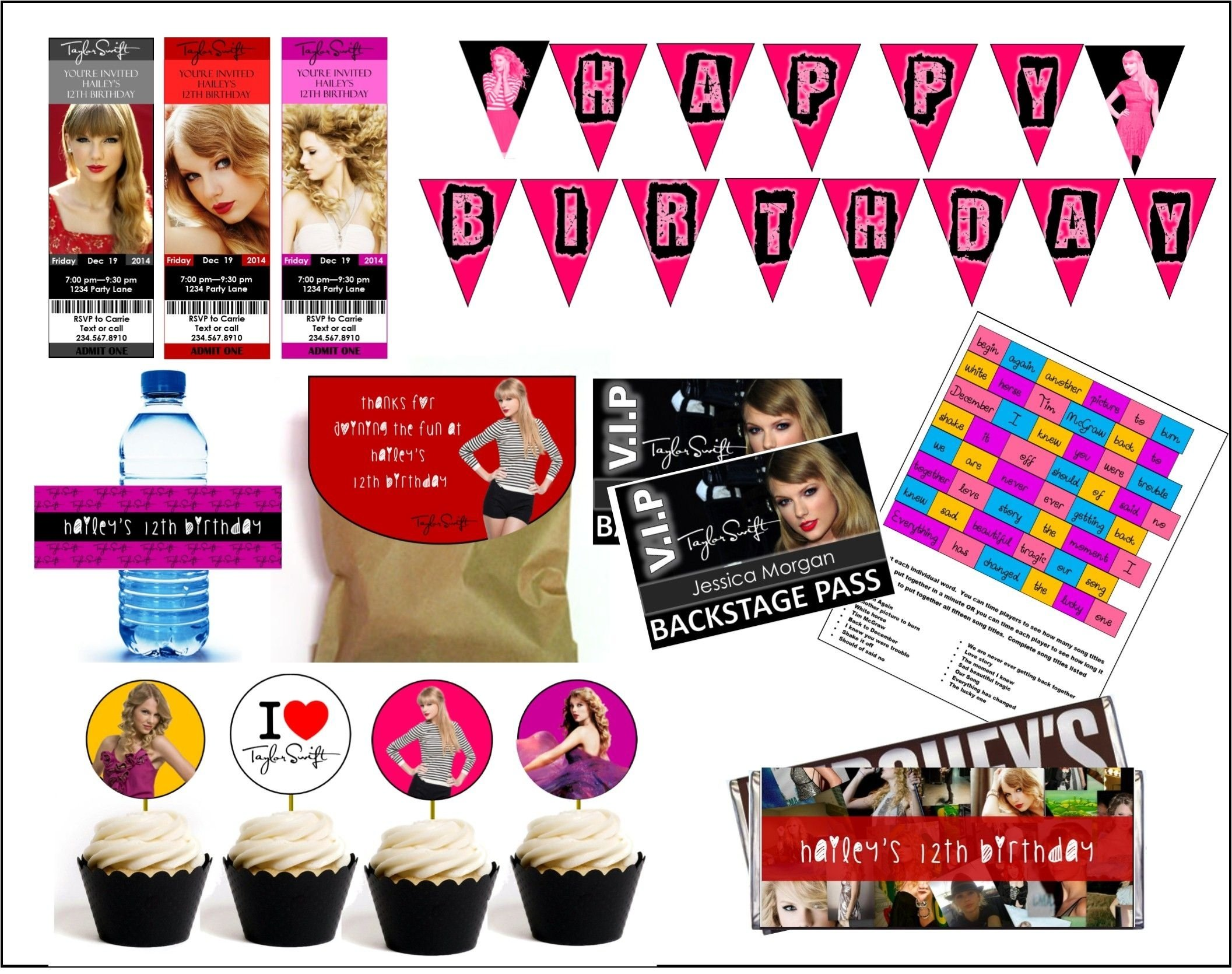 10 Most Popular Taylor Swift Birthday Party Ideas this downloadable party kit comes with everything you need to create 2020