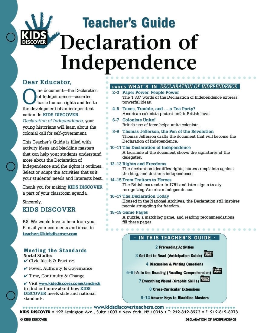 this free lesson plan for kids discover the declaration of
