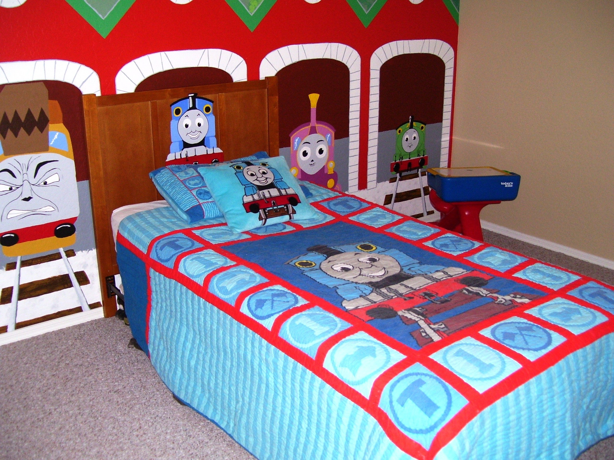 thomas the train bedroom with mural | wall murals, toddler rooms and