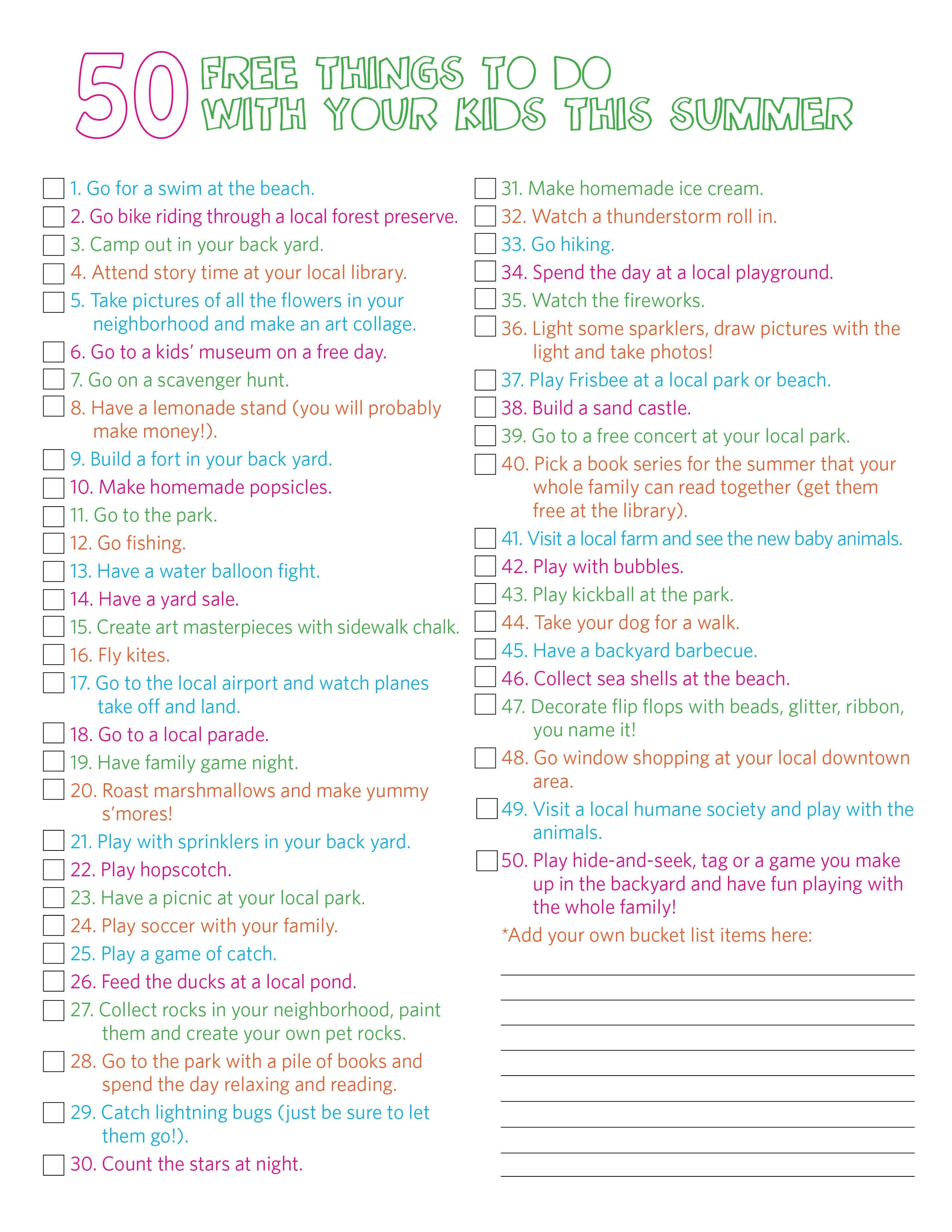 10 Most Popular Crazy Bucket List Ideas For Teenagers thrifty thursday this summers bucket list 50 free things to do 2 2021