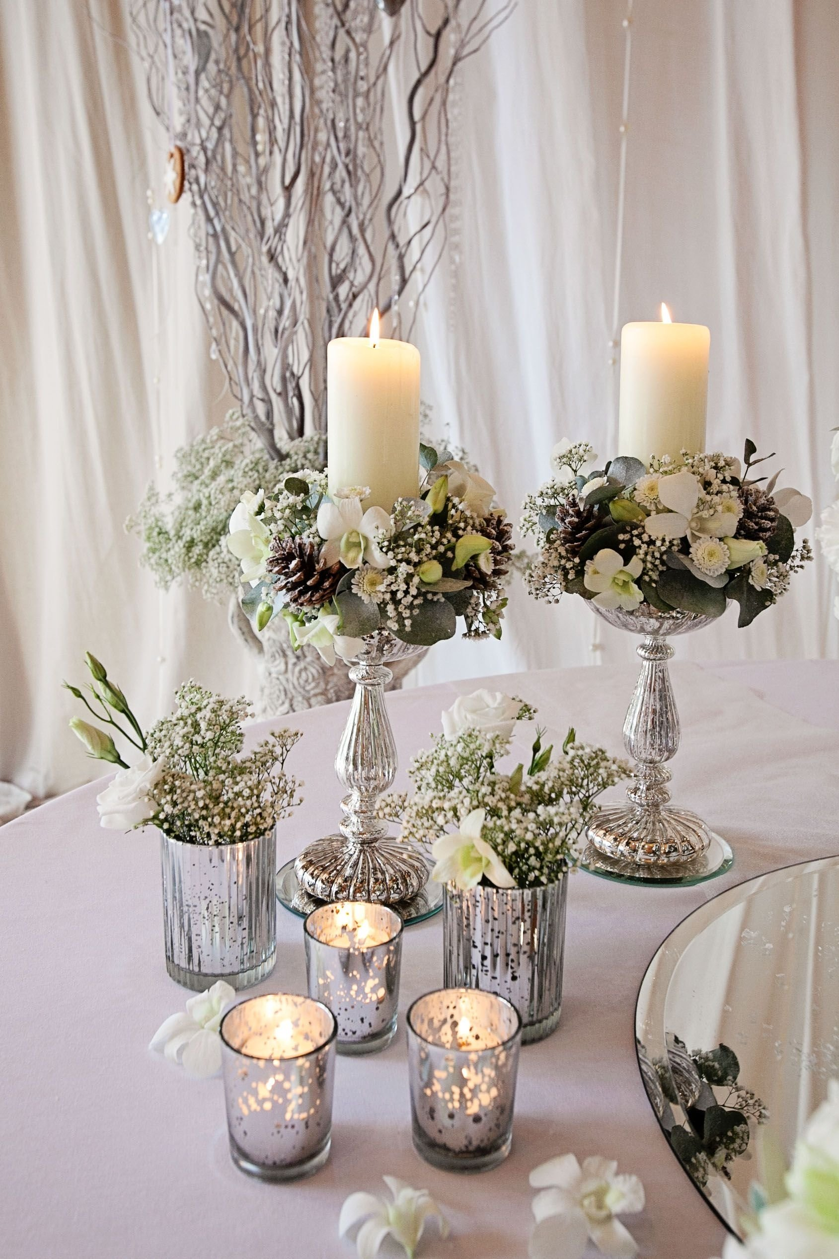 10 Fashionable Wedding Centerpiece Ideas Without Flowers tiara flower arrangements candle stand arrangements and silver 2020