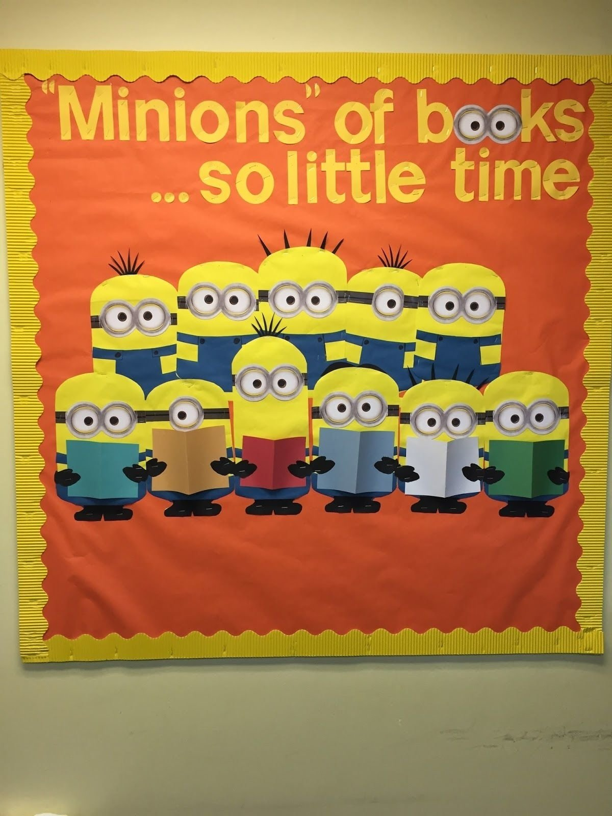 10 Nice Fall Library Bulletin Board Ideas time or is that minions of booksso little time a little 2020