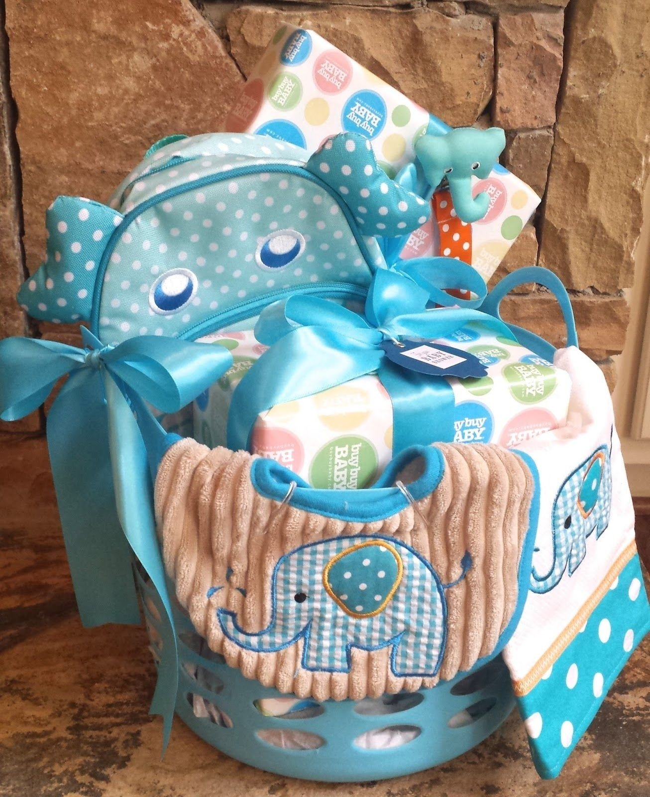 tips for arranging gift baskets - elephant baby shower basket | baby
