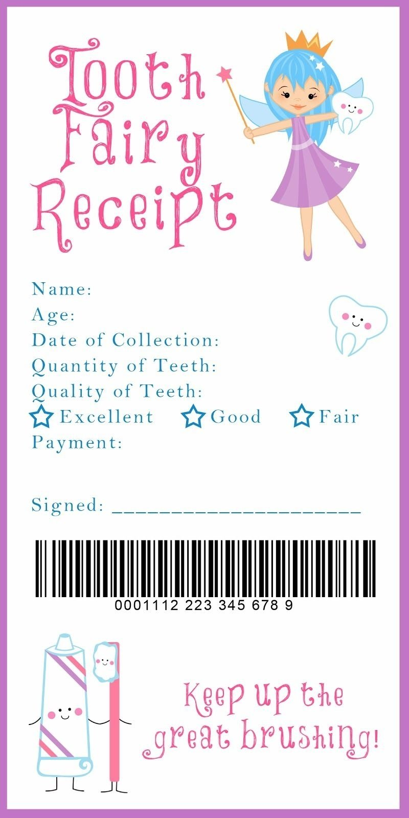 10 Elegant Tooth Fairy Ideas For First Tooth tooth fairy receipt and many other awesome printables xixi 3 2020