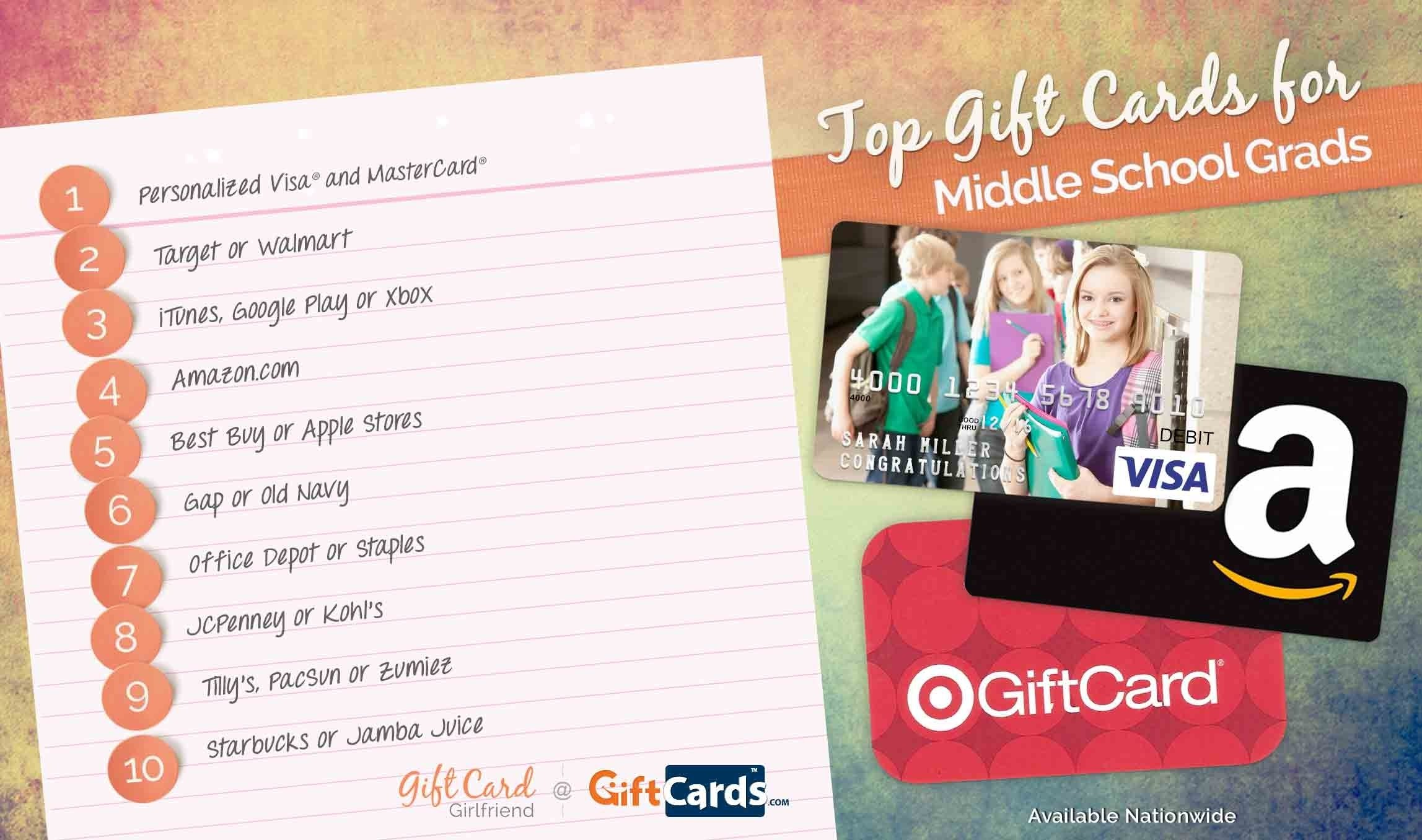 10 Amazing Gift Ideas For High School Graduate top 10 gift cards for middle school graduates gcg 1