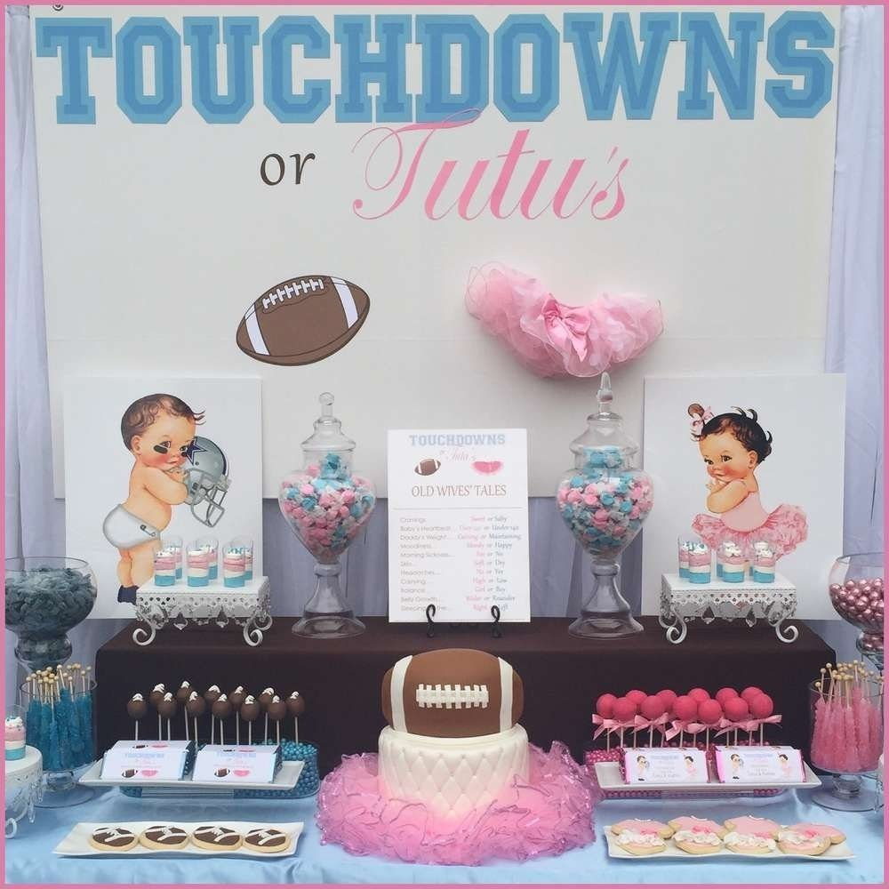 touchdowns or tutu's gender reveal party ideas | gender reveal