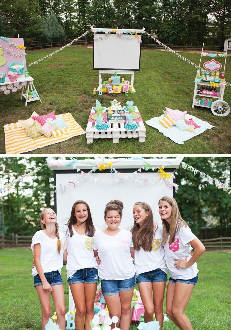 10 Nice Birthday Party Ideas For Teenage Girls 14 trendy outdoor movie night teen birthday party outdoor movie