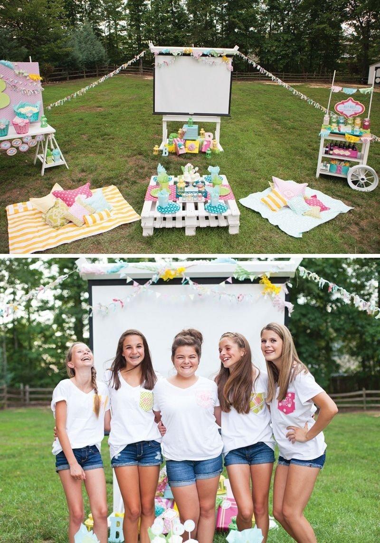 trendy outdoor movie night teen birthday party | teen birthday