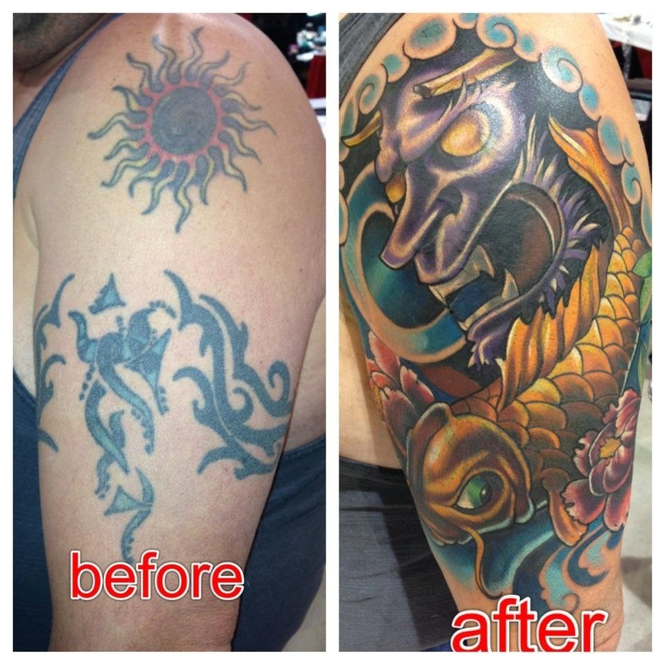 10 Most Recommended Best Cover Up Tattoo Ideas tribal tattoo cover up with japanese mask and koi tattoos 2021