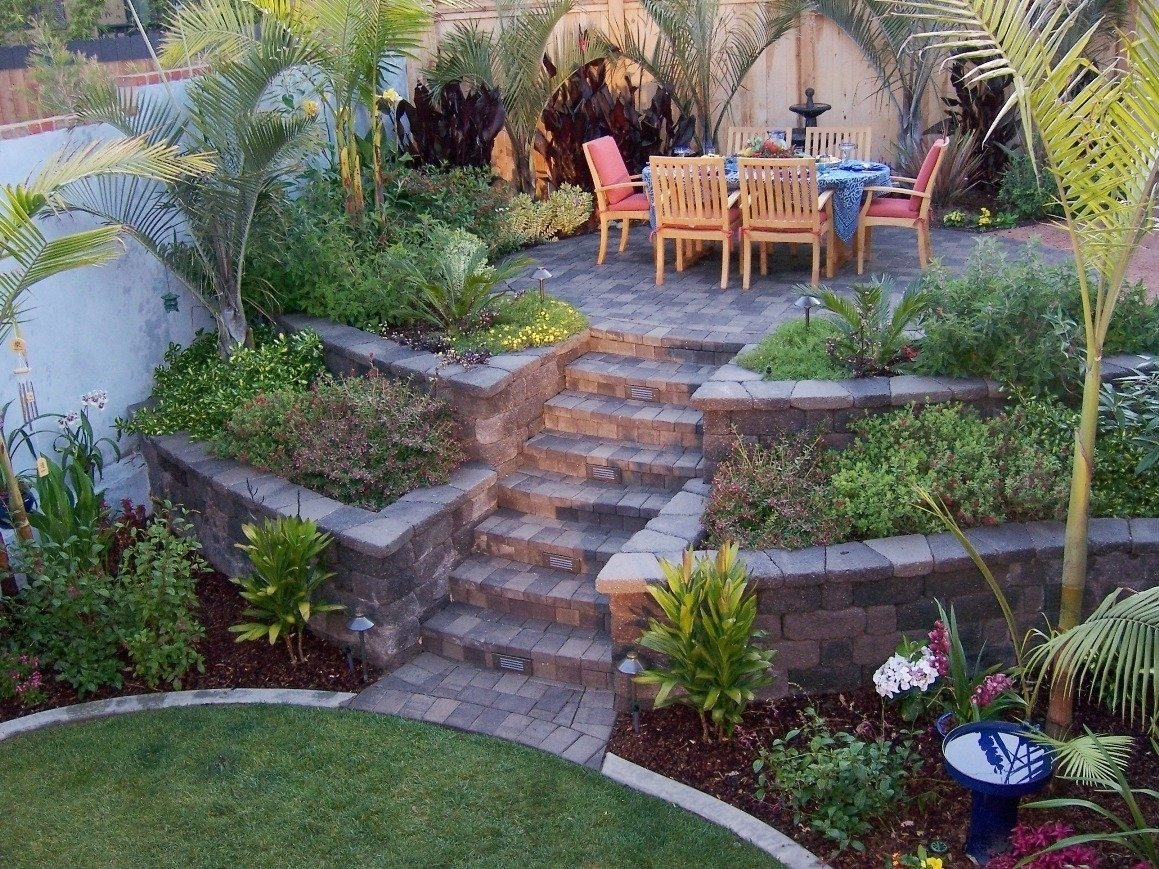 10 Lovable Landscape Ideas For A Slope triyae retaining wall backyard slope various design throughout 2021