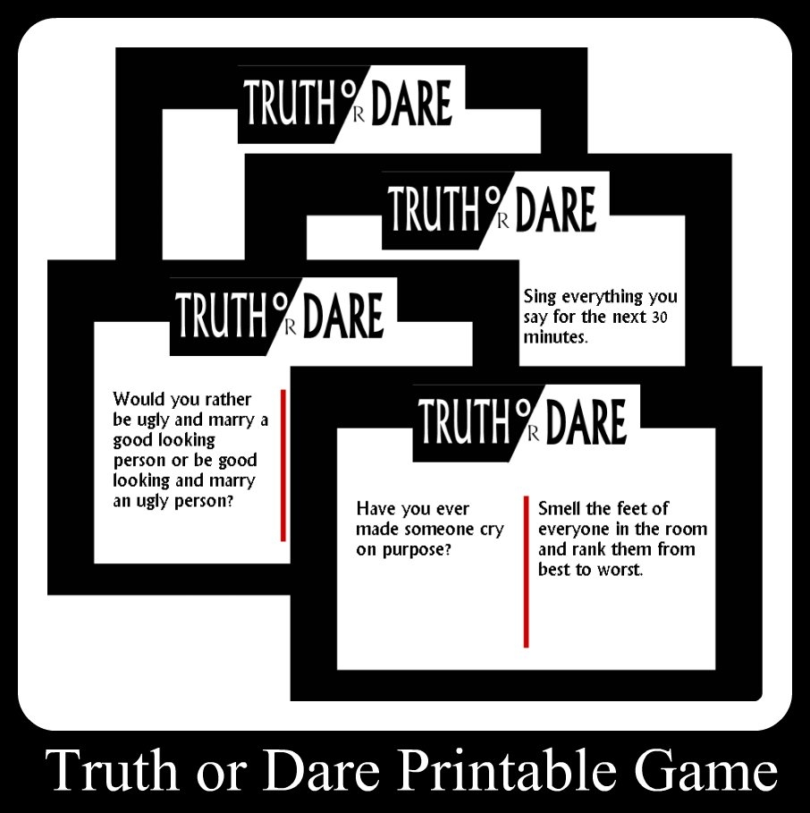 truth or dare printable game cards