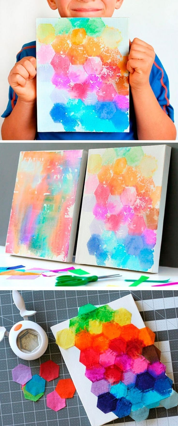 try this fun art project idea for kids! just punch shapes from