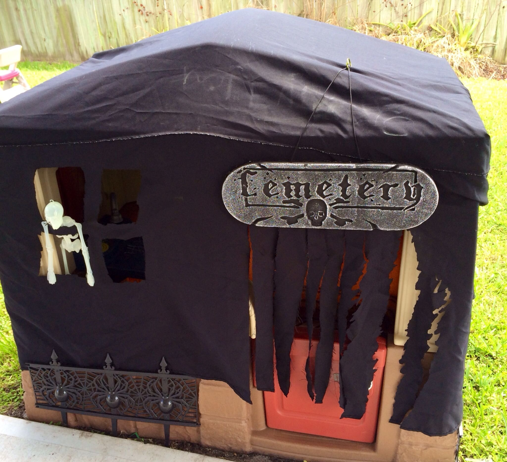 10 Attractive Haunted House Ideas For Kids turn a kids outdoor playhouse into a haunted house using a black 2021