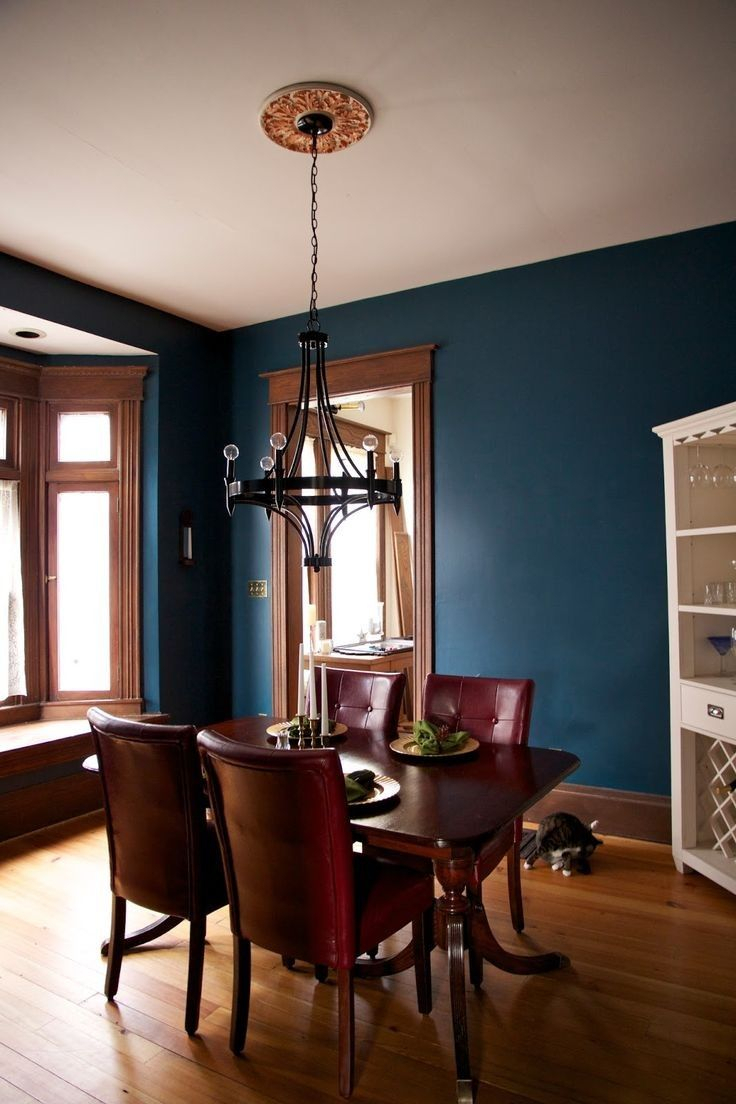 10 Nice Wood Trim Ideas For Walls turquoise wall color with wood trim dining space ideas in 2019