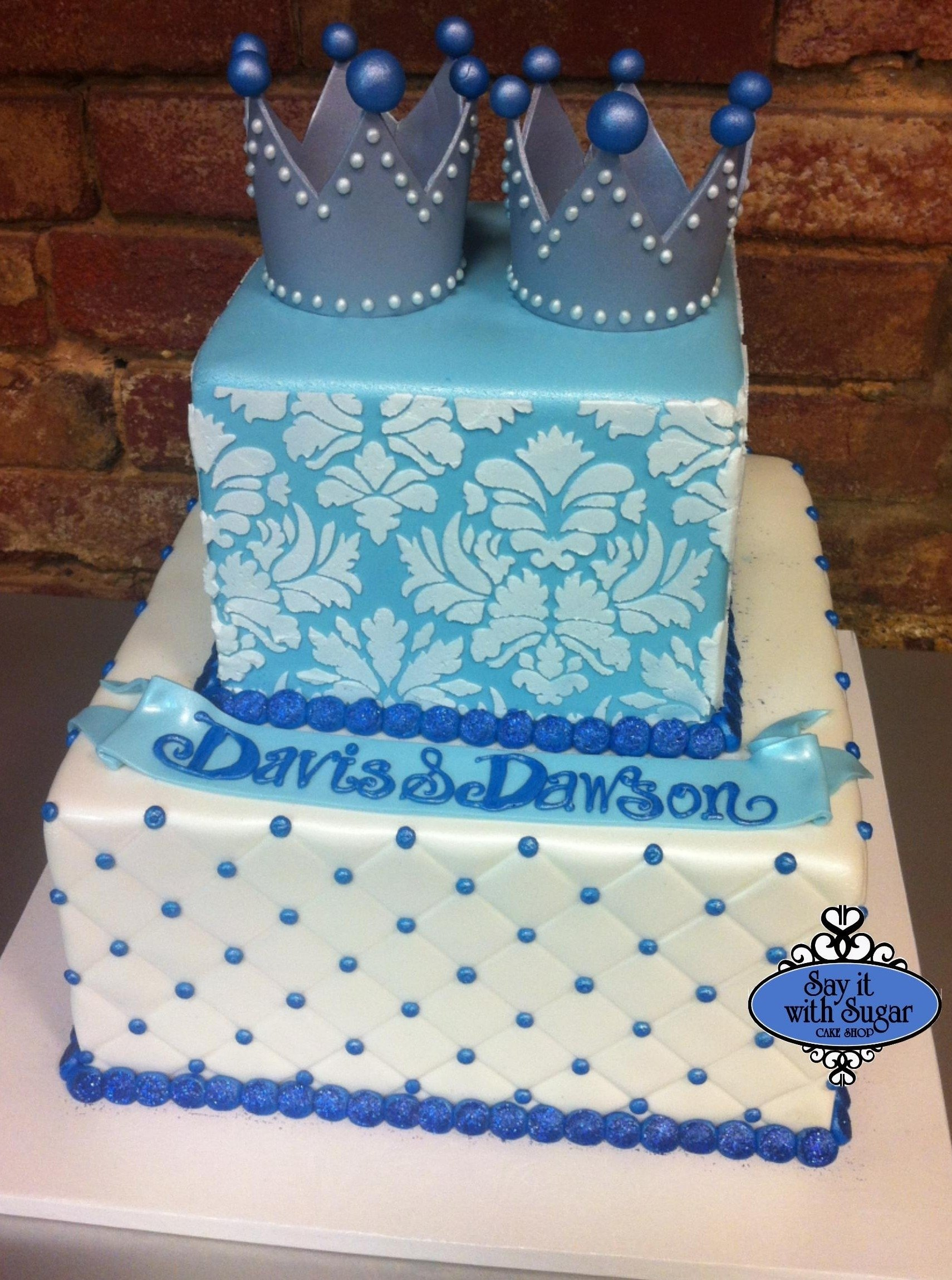 10 Cute Baby Shower Ideas For Twin Boys twin prince baby shower cake cakessay it with sugar cake shop 1