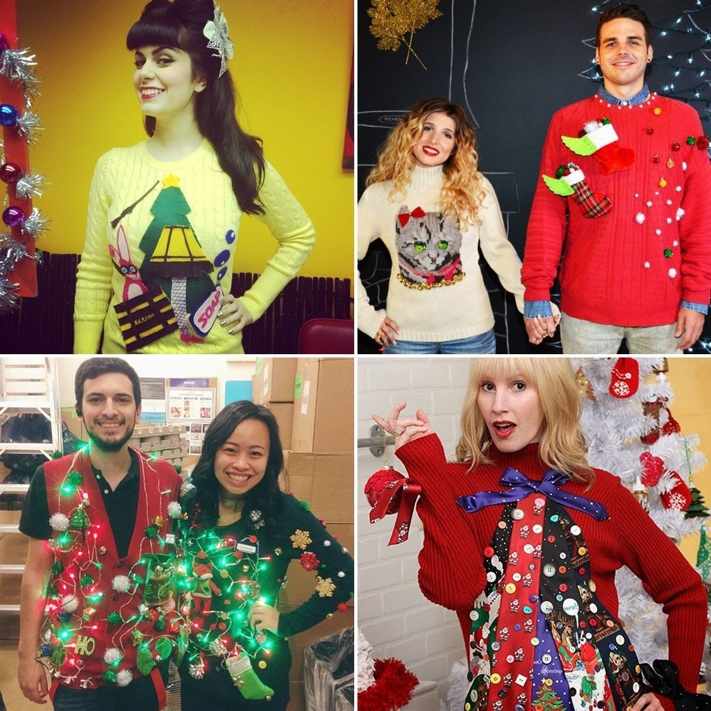 10 Awesome Ugly Christmas Sweater Ideas For Couples ugly christmas sweater diys popsugar australia smart living 1 2020