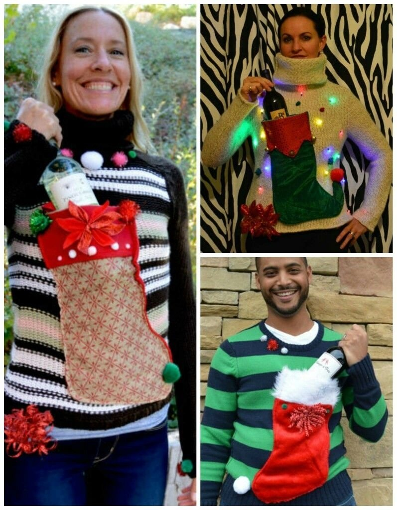 10 Stunning Ugly Christmas Sweater Ideas Homemade ugly sweater wine holdersew on a stocking holiday family 2 2020