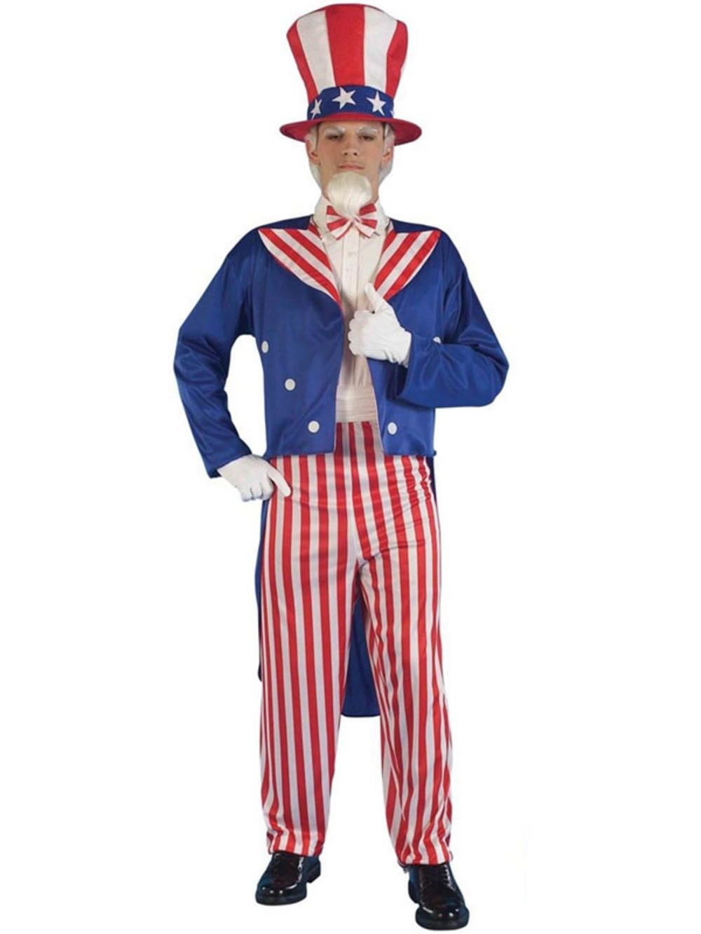 uncle sam 4th july american stars & stripes men fancy dress costume