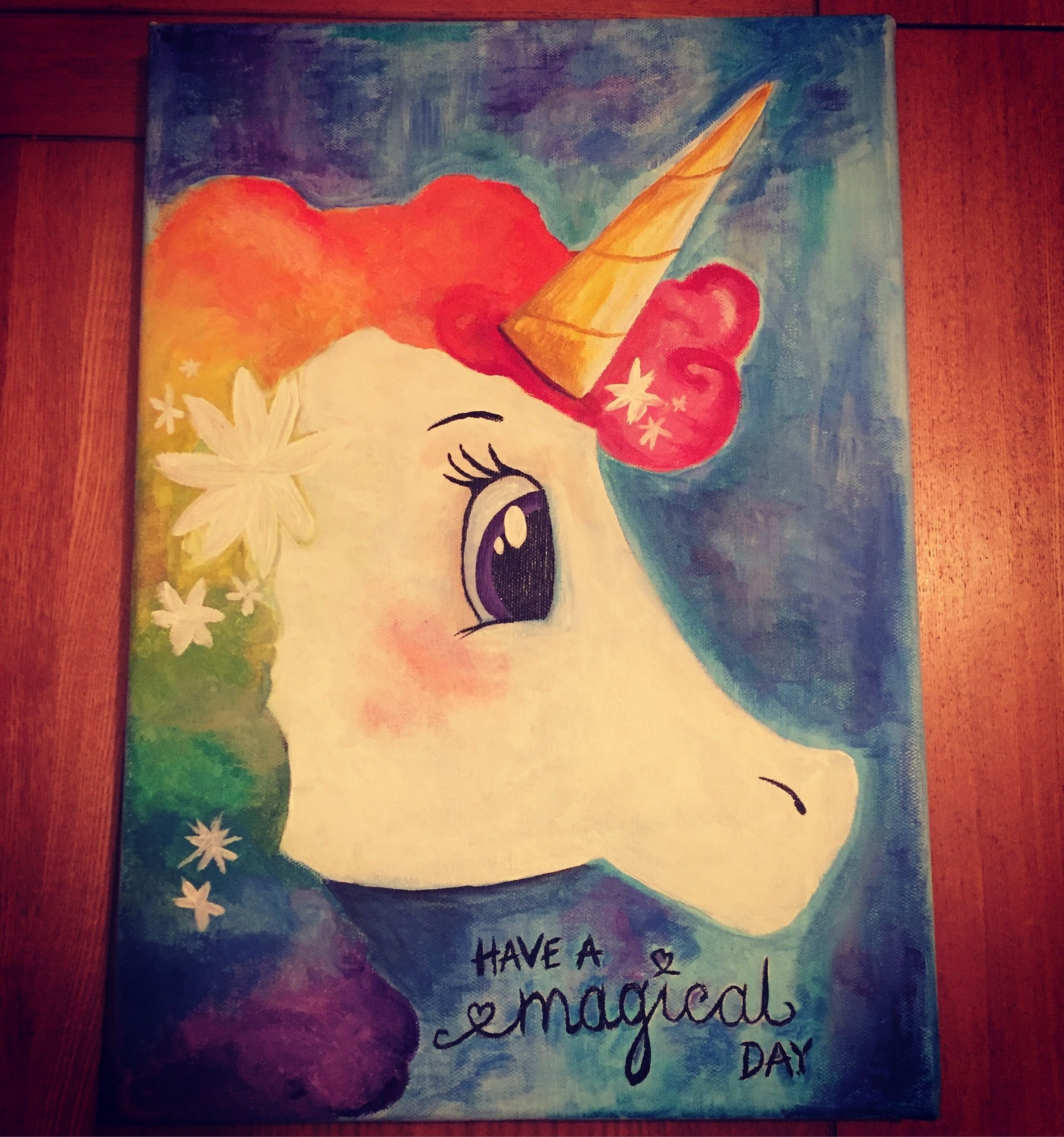 unicorn painting. acrylic paint on canvas | painting ideas