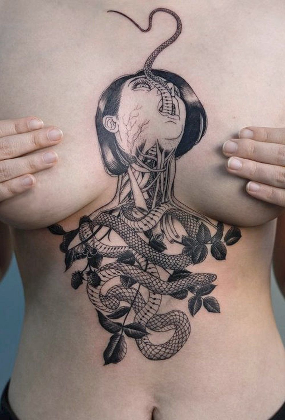 10 Great Cool Tattoo Ideas For Women unique cool medusa snake chest sternum tattoo ideas for women 2020