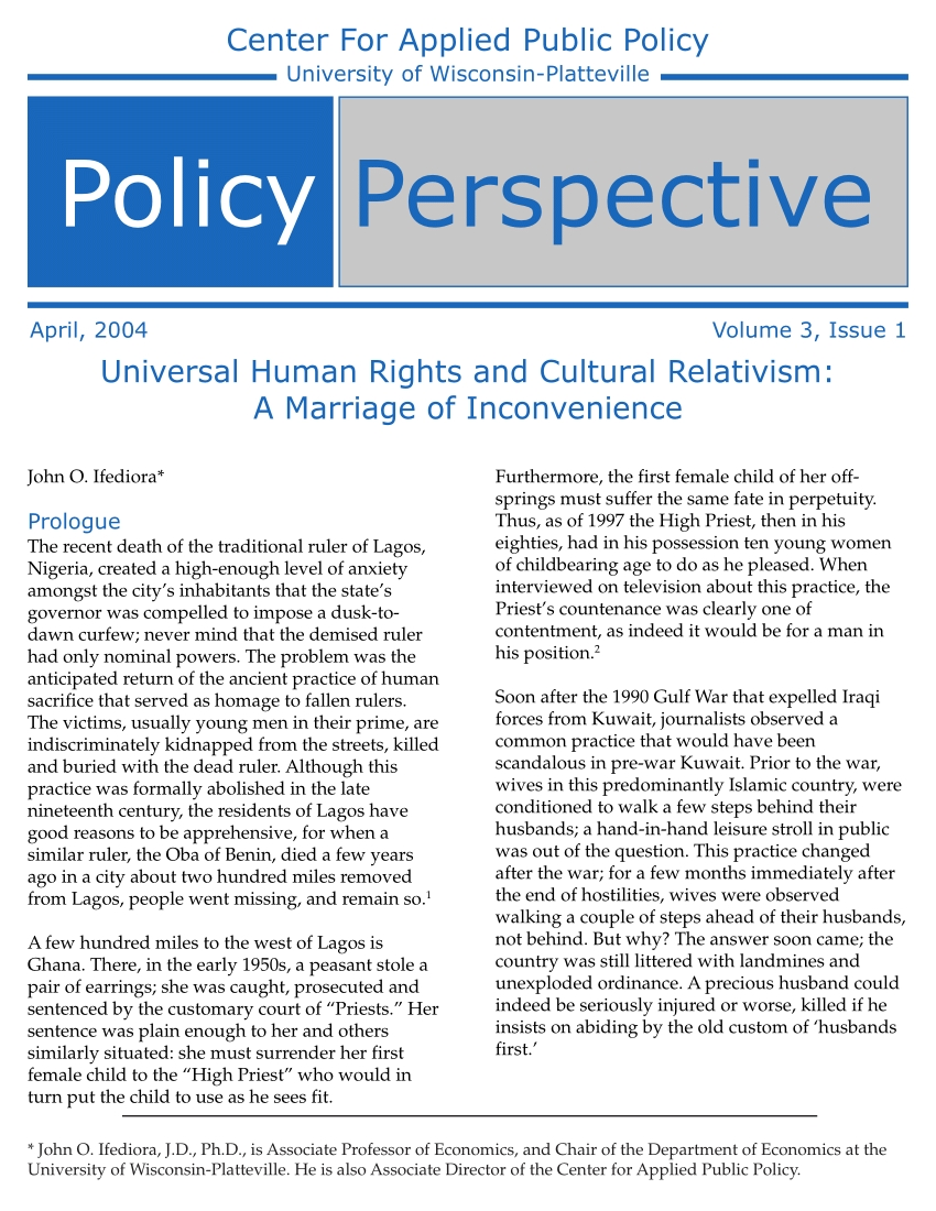 universal human rights and cultural relativism: a marriage of