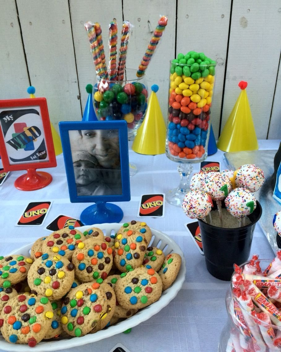 10 Ideal Candy Bar Ideas For Party uno party candy bar candy table cake pops ajs uno birthday 1 2021