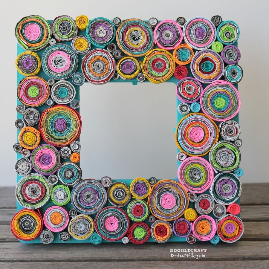 10 Famous Craft Ideas For Picture Frames upcycled rolled paper frame 2020