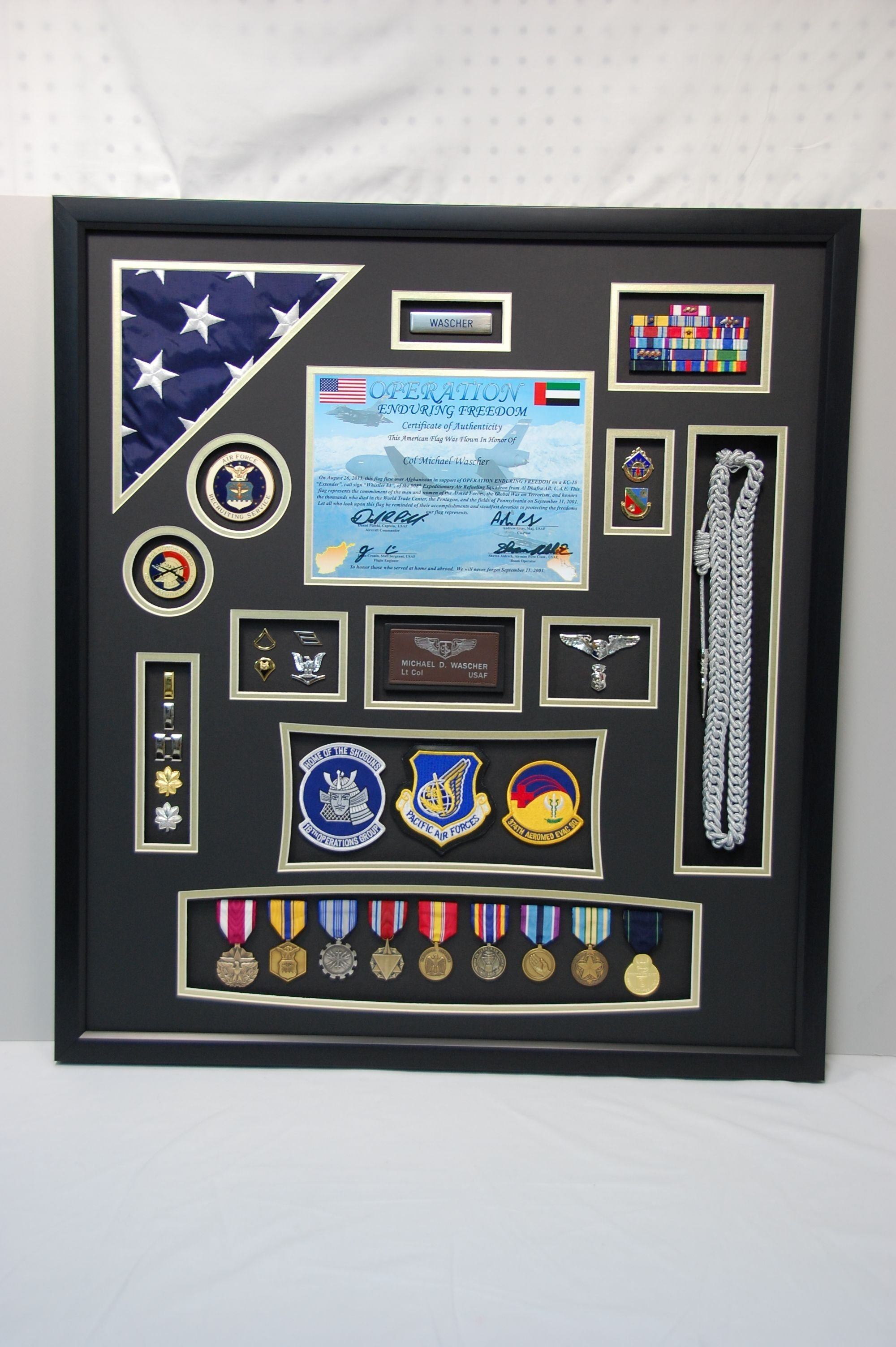 10 Trendy Air Force Shadow Box Ideas us air force shadow box display w flag and certificate this 2021