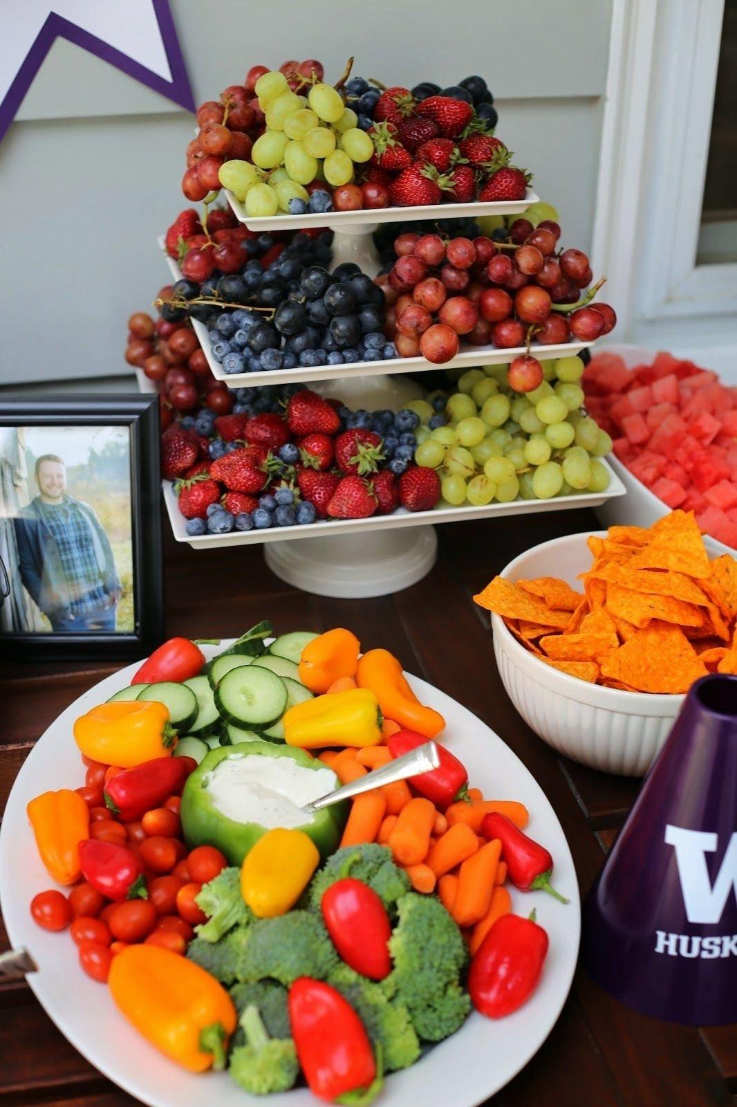 10 Elegant Ideas For Graduation Party Food uw graduation party food table purple and gold party use a pepper 1 2021