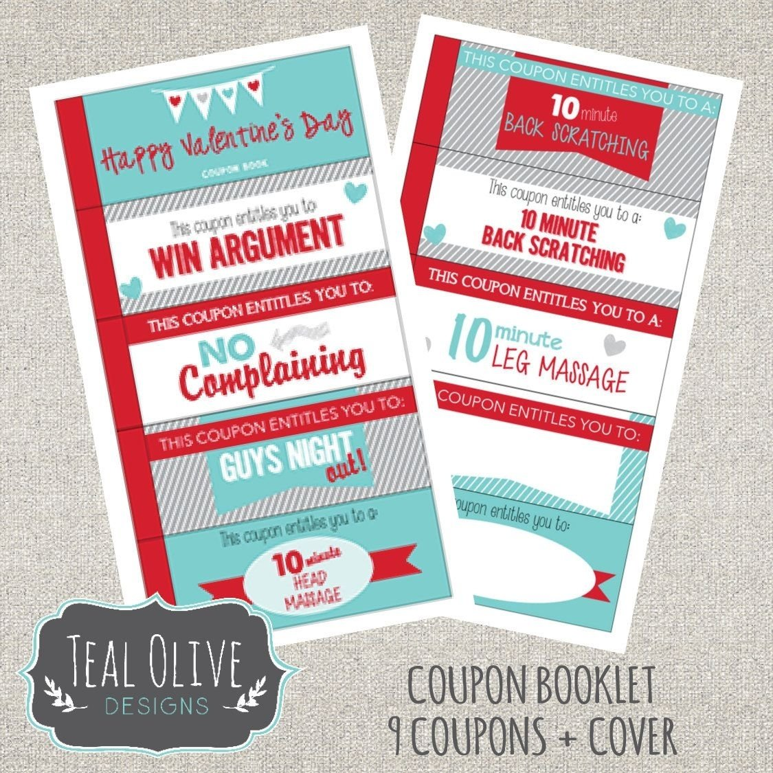 valentine coupon book - printable love coupons - romantic coupons