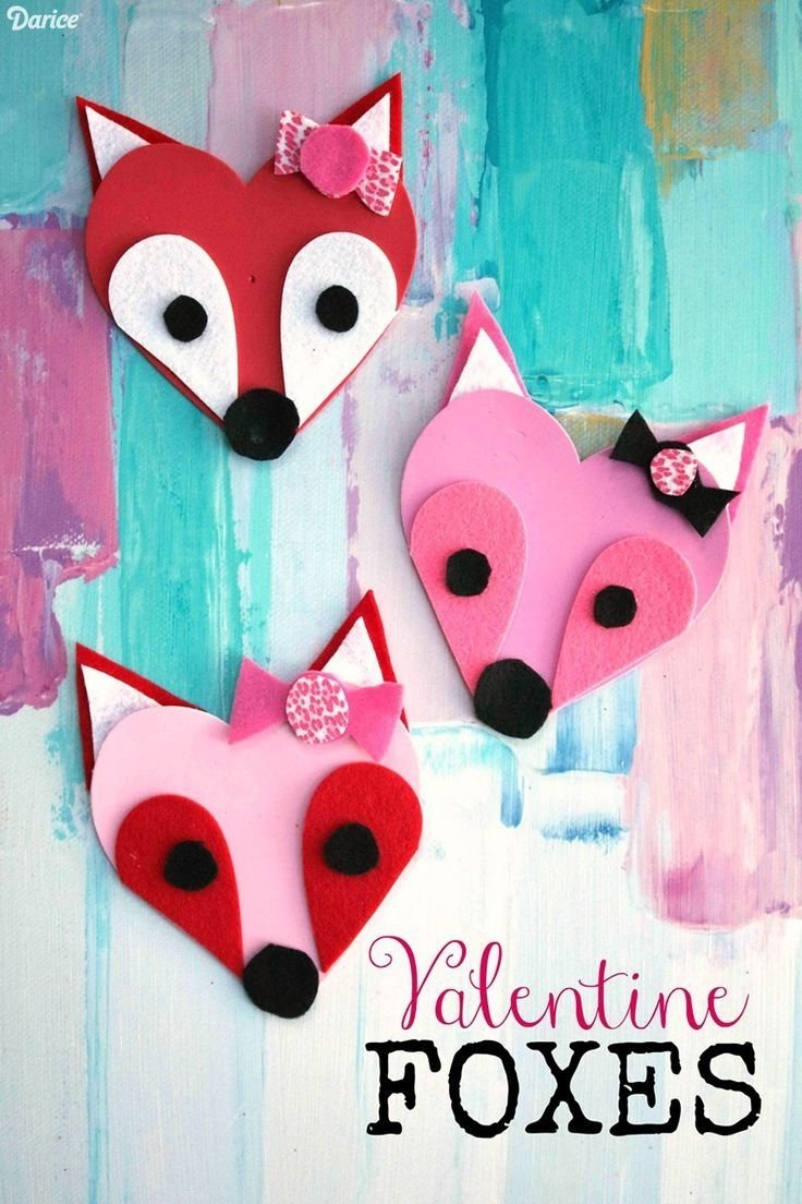 10 Nice Cute Arts And Crafts Ideas valentine fox craft foam heart fox valentines darice fox kids