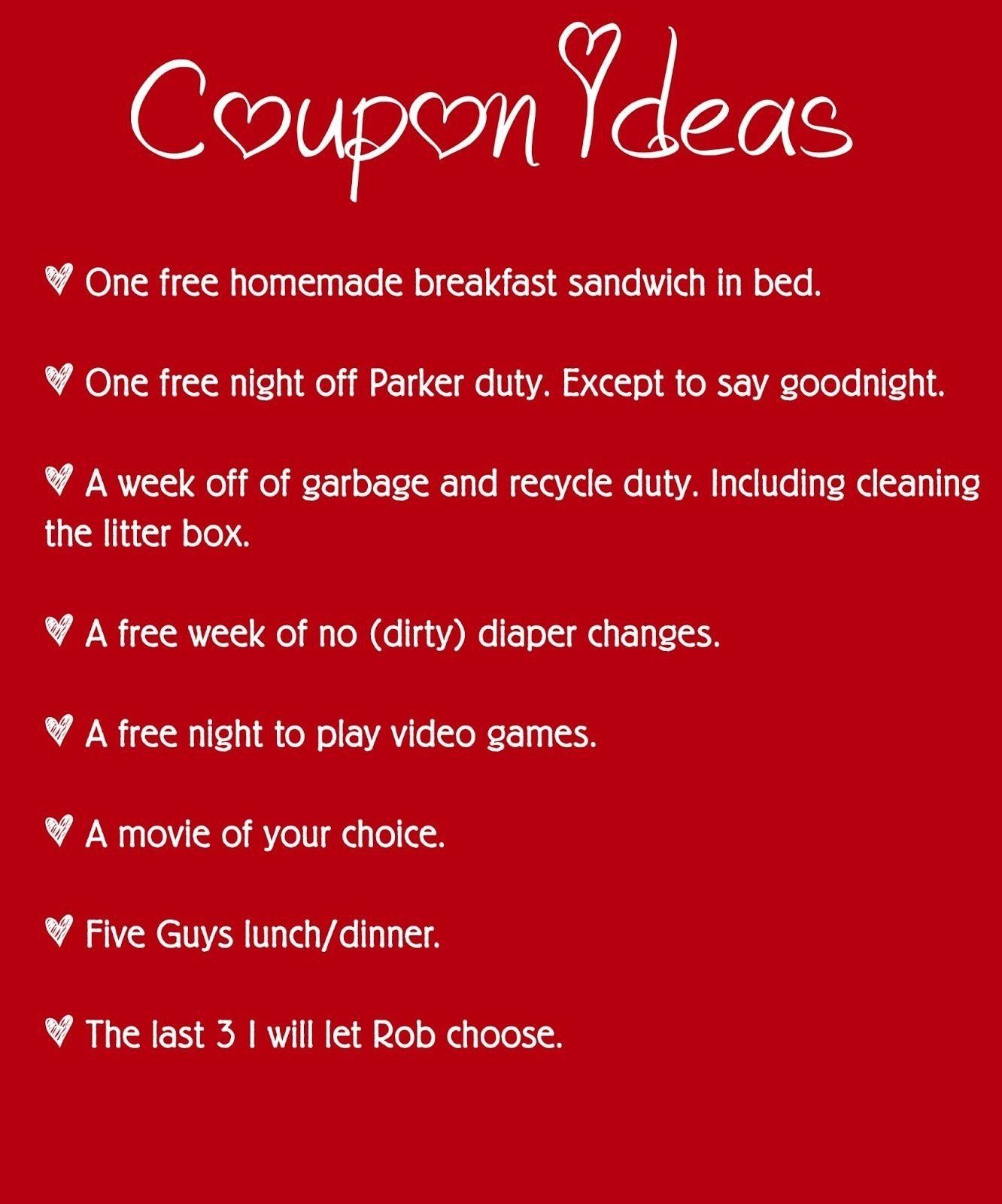 cute coupon book ideas for your boyfriend. instead we are going to ...